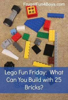 Lego Fun Friday:  What Can You Build with 25 Bricks?    This and other great Lego ideas!  (Perfect for Will's quiet time during the summer!)