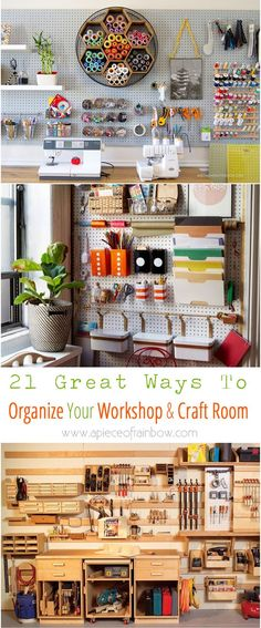 21 great ways to completely organize your workshop or craft room: how to best utilize pegboards, shelving, closet and wall spaces, and much more! - A Piece Of Rainbow Hobby Room, Ways To Organize Your Room, Organize Craft Closet, How To Organize, Craft Room Closet, Closet Desk, Organized Craft Rooms, Organize Room, Pegboard Craft Room