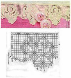 Risultati immagini per miria croches e pinturas Filet Crochet, Crochet Cross, Crochet Home, Thread Crochet, Crochet Stitches, Crochet Boarders, Crochet Motif Patterns, Crochet Lace Edging, Crochet Trim