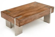 Modern Rustic Block Coffee Table - Woodland Creek offers a large selection of unique wood furniture designs. All designs are available in custom sizes and finishes. This coffee table is handcrafted from reclaimed and sustainable woods. Coffee Table Design, Rustic Coffee Tables, Rustic Table, Rustic Bed, Coffee Table Legs, Rustic Cabins, Steel Furniture, Diy Furniture, Furniture Design
