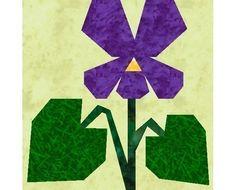 Violet paper pieced quilt block pattern INSTANT DOWNLOAD PDF. $3.00, via Etsy.