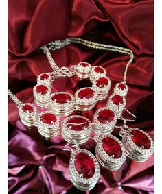 Vintage inspired silver plated set in ruby red