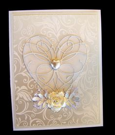 Ann Greenspan's Crafts: Pearl white cards with La Rue Heart