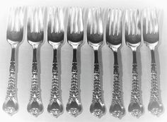 "SET~8 ANTIQUE c1900 TIFFANY&CO FLORENTINE STERLING SILVER 6""DESSERT PASTRY FORKS #ArtNouveau #TiffanyCo"