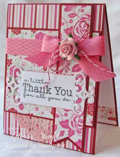 Nice Card Using Baker's Twine with Ribbon; like the addition of a small piece of doily