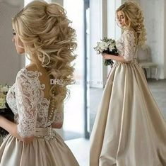 Discount 2017 Newest Champagne Wedding Dresses Sheer Neck Half Sleeves Appliques Lace Satin Long Wedding Gowns See Through Back Vintage Bridal Dress Celebrity Wedding Dresses Champagne Wedding Dresses From Yate_wedding, $125.84| Dhgate.Com