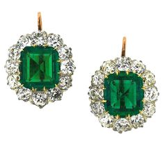 Exquisite Edwardian Emerald, Diamond, Platinum & Gold Earrings - Sheila Goldfinger Antiques & Estate Jewelry