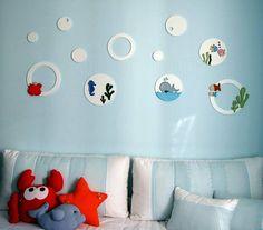 Apliques bolhas e bichos do fundo do mar, para decoração quarto menino