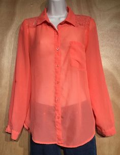 Kirra Sheer Melon Orange Lace Accent Long Sleeve Blouse Sexy Layering Shirt - M  | eBay