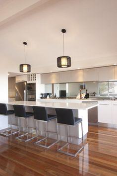 White kitchen, Mirror Tiles, need to add waterfall Outdoor Kitchen Design, Modern Kitchen Design, Basic Kitchen, New Kitchen, Kitchen Ideas, Kitchen White, Kitchen Layout, Kitchen Interior, Cool Kitchens