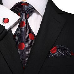 Silk Necktie Sets, Wedding Ties, and Bow Ties Men's Pocket Squares, Tie And Pocket Square, Style Masculin, Mode Costume, Wedding Ties, Tie Set, Red Dots, Polka Dots, Suit And Tie