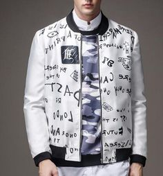 Plus size graffiti bomber jacket for autumn