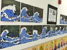 Tear Art based on Japanese printmaker Katsushika Hokusai 39 s quot The Great Wave quot Art Lessons For Kids, Art Lessons Elementary, Art For Kids, Summer Art Projects, Cool Art Projects, Kindergarten Art, Preschool Art, Arte Elemental, Tears Art