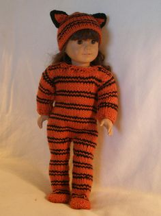 TIGER COSTUME for HALLOWEEN Downloadable Knitting pattern for any 18 inch Doll including American Girl.