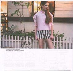 americanapparel:  American Apparel Printed Stretch Twill High-Waist Cuff Short featured on Milk Issue 146