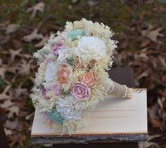 Wedding Bouquet Pastel Bouquet Mint Peach Pink Champagne Ivory Bouquet by CountryWesternBlooms