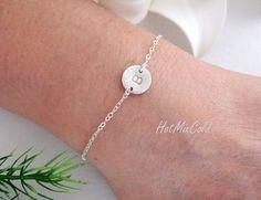 Customize Initial Bracelet, Monogram bracelet, Disc Charm ADJUSTABLE Silver Bracelet, Bridesmaids Bracelet, Sister, Mothers Jewelry on Etsy, $25.00