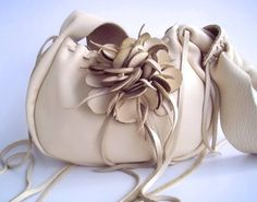 creamy white leather handbag purse with a detachable by tuscada, $159.00