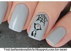 Halloween Easy Nail Art Video Tutorials 1 | fashiontrendstyle.blogspot.com