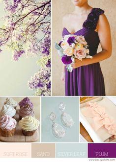 Wedding Color ideas: Soft Rose, Sand, Silver Leaf, and Plum | Flights of Fancy by Amethyst...pretty!
