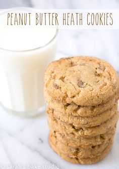Peanut Butter Heath Cookies – soft, chewy, and completely delicious peanut butter cookies that are seriously LOADED with peanut butter and Heath English Toffee Bits; the perfect marriage of flavors! Best Cookie Recipes, Best Dessert Recipes, Fun Desserts, Baking Recipes, Bar Recipes, Fudge Recipes, Cream Recipes, Sweet Recipes, Cookies