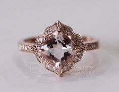 NEW DESIGN!Vintage Morganite and Diamond Ring /Morganite ring/Morganite…