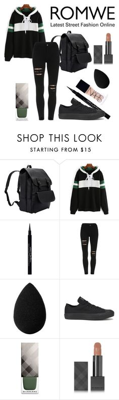 """""""Romwe Competition"""" by gemgem-45 ❤ liked on Polyvore featuring Givenchy, beautyblender, Converse, Burberry and NARS Cosmetics"""