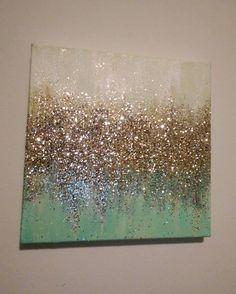 baaf4a5a490 Handmade Abstract Glitter Painting Custom Modern Chic Home Decor Mint Blue  Green Gold