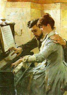 Al piano obra del pintor naturalista finlandés Albert Edelfelt Piano Art, The Piano, Art Ancien, Romance Art, Classical Art, Couple Art, Renaissance Art, Vincent Van Gogh, Beautiful Paintings