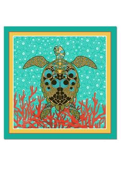 """100% silk scarf with a colorful and elegant Bohochic design that will elevate your fashionista look. The scarf features a beautiful Turtle and a gorgeous Coral andNautical palette as a background. Hand rolled finished edge.    34"""" X 34""""   100% Silk Scarf  by Styles Boutique. Accessories - Scarves & Wraps Boca Raton, Florida"""