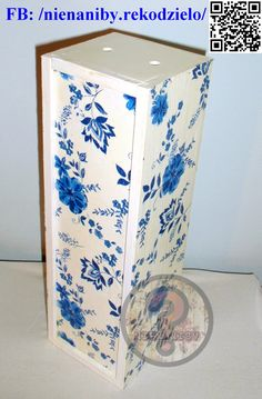 White & blue decoupage flower box by NieNaNiby