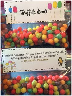 Simple Dr. Seuss Lorax snacks. Truffula seeds trix cereal