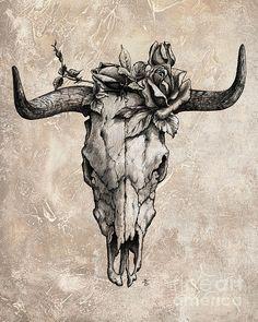 Bull Skull And Rose von Emerico Imre Toth - Stierschädel und Rose – Emerico Imre Toth Tattoo, Stier Konstellation, Sti - Tattoo Bein, Arm Tattoo, Sleeve Tattoos, Deer Head Tattoo, Pixel Tattoo, Cow Skull Tattoos, Animal Tattoos, Bull Skulls, Animal Skulls
