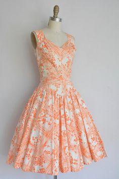 vintage 1950s dress / sweetheart orange by simplicityisbliss