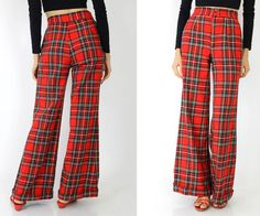 70s plaid bell bottom pants S vintage wide leg tartan by OmniaVTG