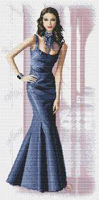 los gráficos del gato: DAMA ELEGANTE Elegant Woman, Cross Stitch Patterns, Formal, Margarita, Graphics, Style, Fashion, Classy Nails, Long Dresses