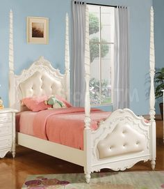 Pearl White Post Bed in Cushioned Pattern Footboard by Acme Furniture