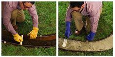 How to Make Concrete Garden Edging - Bob Vila A front garden – so they say-. How to Make Concrete Concrete Garden Edging, Yard Edging, Cement Garden, Concrete Patio, Glass Garden, Lawn And Garden, Garden Beds, Garden Paths, Flower Bed Edging
