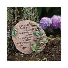Memorial Garden Plaques, Evergreen Garden, Garden Stepping Stones, Homemade Stepping Stones, Memorial Stones, Memorial Ideas, Memorial Flowers, Words Of Comfort, Garden Signs