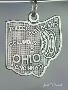 Ohio Charm Sterling Silver State America USA