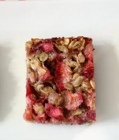 Strawberry-Rhubarb Crisp Bars (vegan, gluten-free) - A sweet, healthy, low calorie snack bar chock full of strawberries and rhubarb.