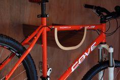 Wooden Wall Mounted Bike Rack With Walnut Finish