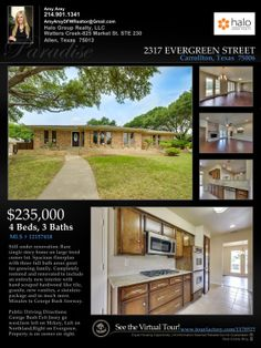 Just Listed in Carrollton | $235,000  Rare Single Story 4/3/2 on Corner Lot.  More Info and Photos: http://www.mckinneyrealestateinfo.com/viewallimages/mlsid/173/propertyid/12157418/