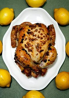 Roast Chicken with Preserved Lemons  Supper tonight, a hit!  Absolutely delicious.  We were out of cilantro and it was still good.