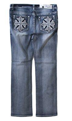 Grace in LA Plus Size Jeans Straight Leg with Flower Cross Pockets PS8951