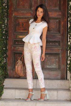 floral pants + peplum shirt