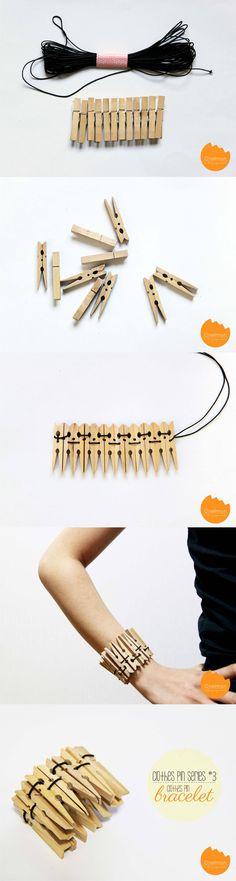 Pulsera DIY con pinzas de madera - onelmon.com - DIY Clothes Pin Bracelet