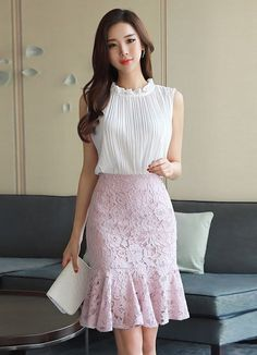Korean Women`s Fashion Shopping Mall, Styleonme. Best Business Casual Outfits, Classy Work Outfits, Korean Fashion Dress, Fashion Dresses, Women's Fashion, Dress Skirt, Lace Skirt, Kids Frocks, Outfit Trends