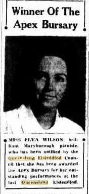 13 December 1946 Miss Elva Wilson, Maryborough Pianiste