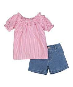 Another great find on #zulily! Pink Stripe Top & Denim Shorts Set - Infant, Toddler & Girls #zulilyfinds